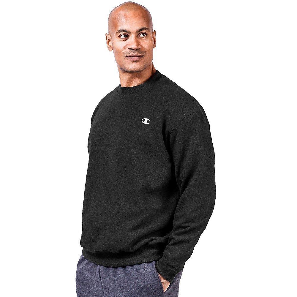 Champion Big & Tall Men's Fleece Sweatshirt-4XLT-Black by Champion