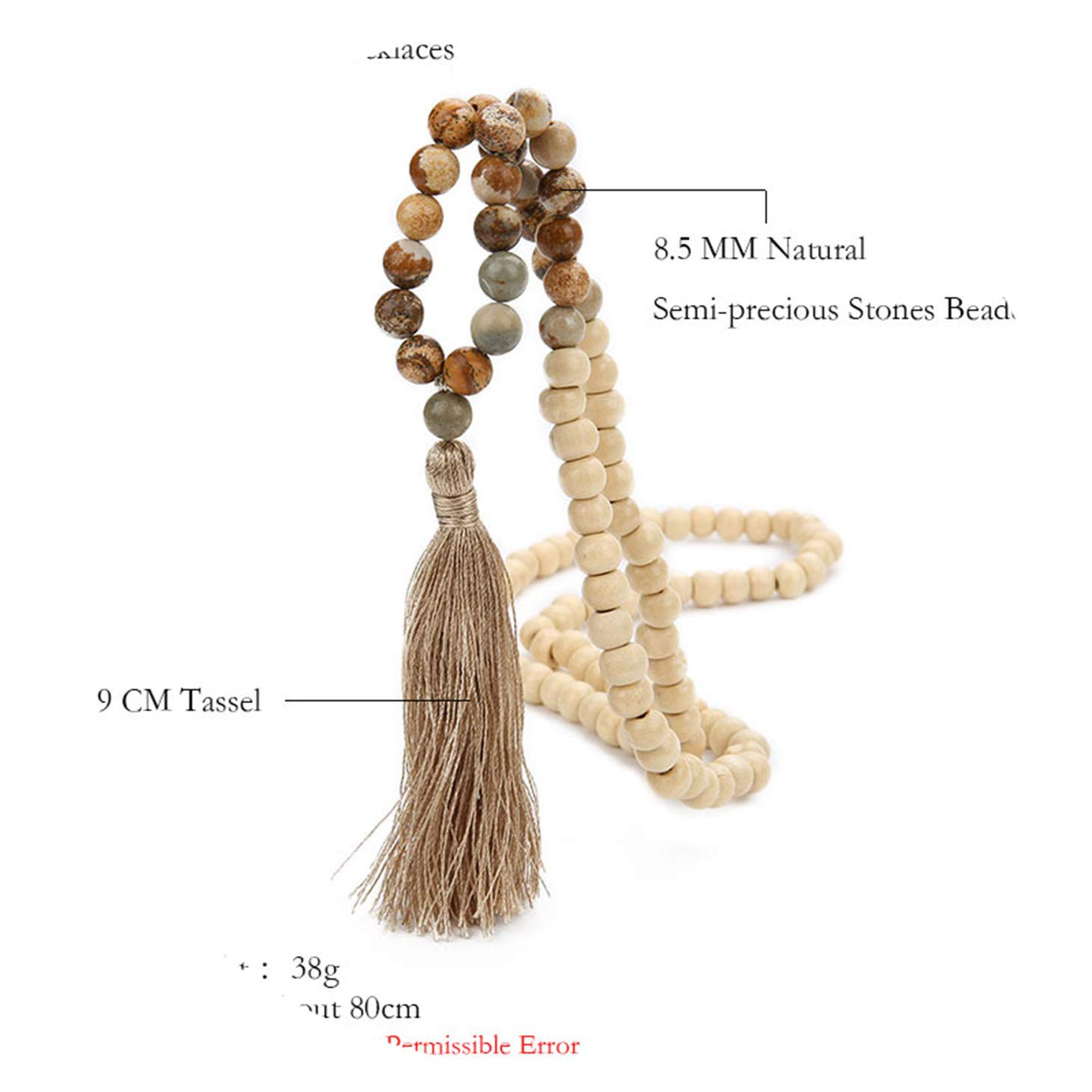 Olive Tayl Fashion Bohemian Tassel Yoga Wooden Jewelry Handmade Natural Stone Tassel Necklace for Women Lariat by Olive Tayl (Image #4)