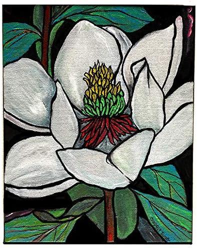 Wall Art Magnolias Original  Acrylic and  Watercolor Painting