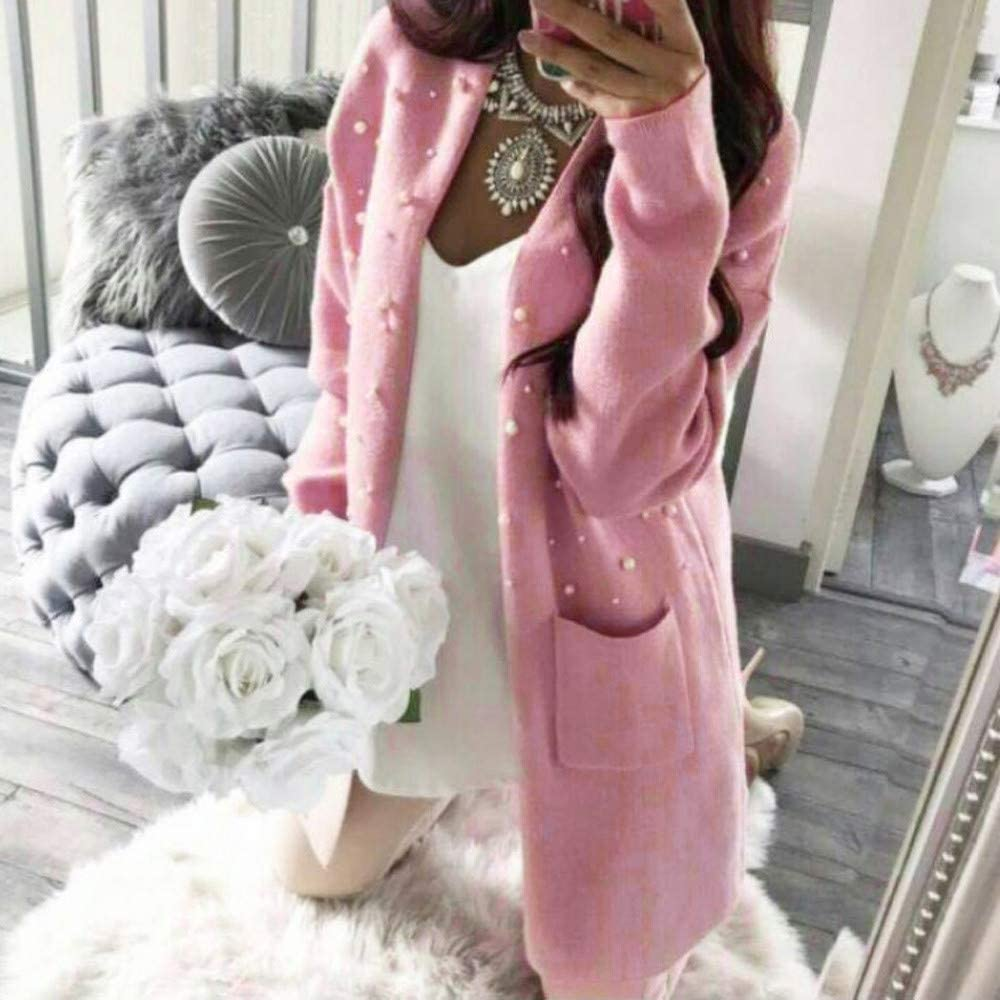 AOJIAN Women Jacket Long Sleeve Outwear Baggy Knitted Bead Open Front Solid Cardigan Coat Cover Up