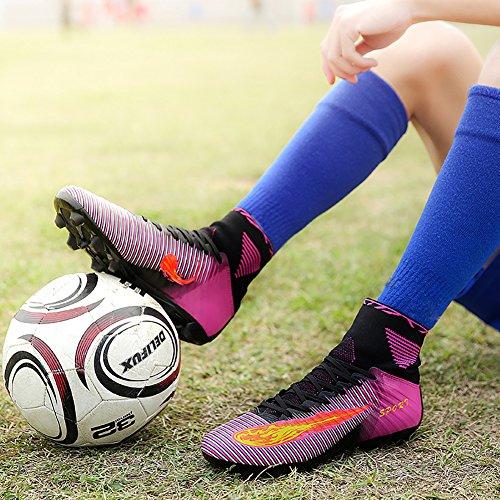 ASHION Niños Botas de fútbol para niños profesionales Zapatos de fútbol al aire libre Zapatillas de deporte Niños Muchachas Zapatillas de fútbol Morado