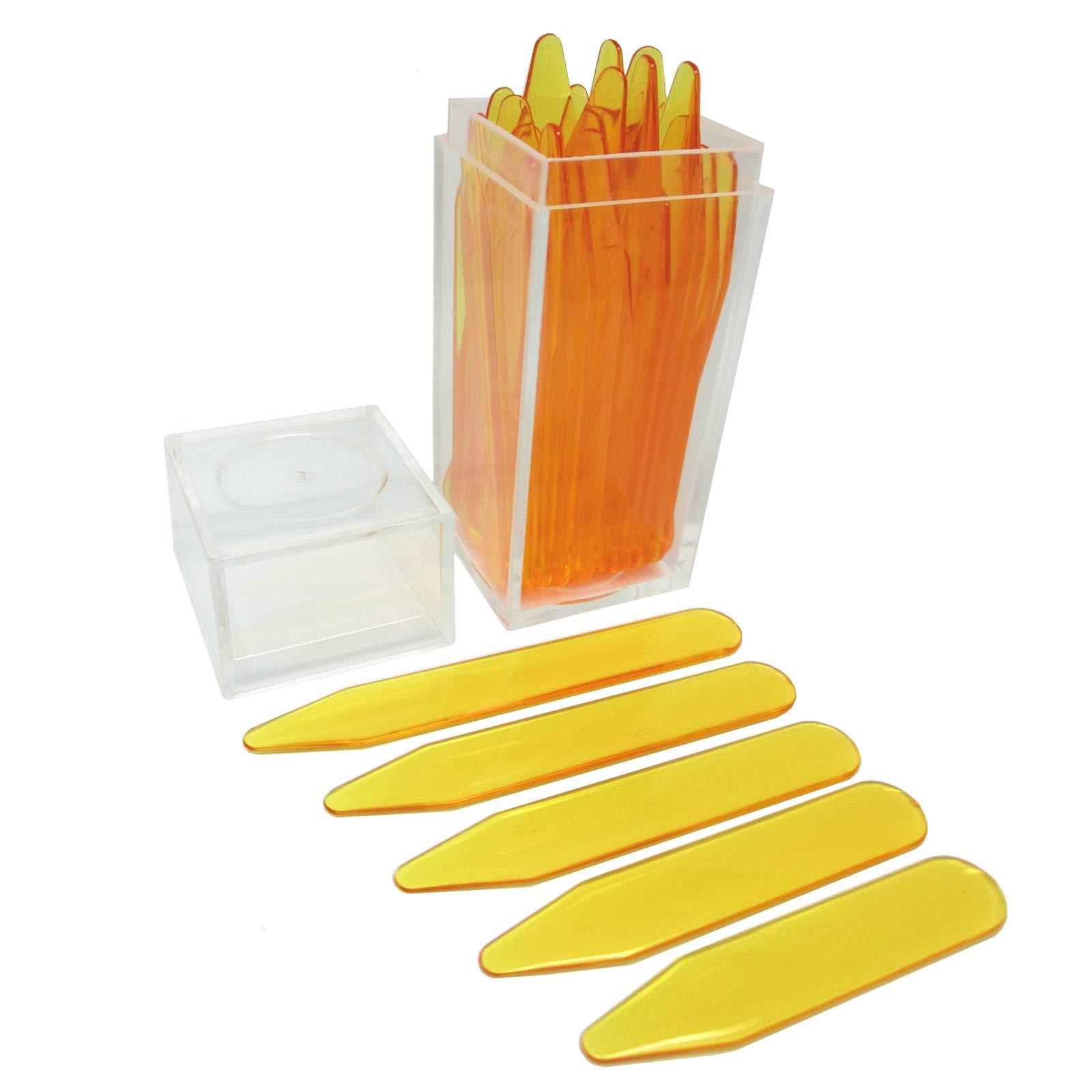 Shang Zun 30 Pcs Orange Plastic Collar Stays in Clear Box, 5 Sizes
