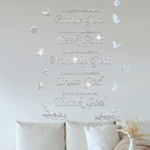 Acrylic Mirror Wall Decor Praise God Happy Moments Thank God Every Moments, EsLuker.ly 3D Inspirational Mirror Wall Stickers DIY Mural Art Decals for Home Office Decoration (Silver)