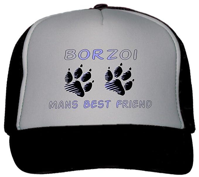 56737c3784e Image Unavailable. Image not available for. Color  T-ShirtFrenzy Borzoi Man s  Best Friend Trucker Hat Cap Black