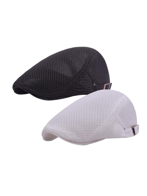 LITHER Men Breathable Mesh Flat Cap Duckbill Summer Hat Newsboy Beret Ivy Cabbie Caps (2 Pack-A)