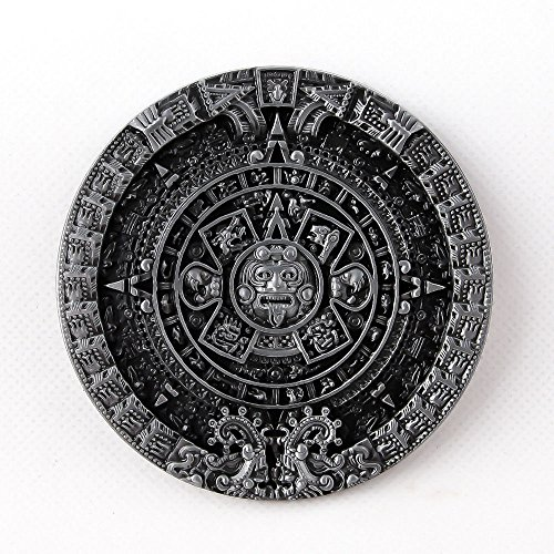 Mens New Vintage Pewter Aztec Calendar Circle Belt Buckle Mayan Indian Detailed (Pewter Belt Buckle Confederate Flag)