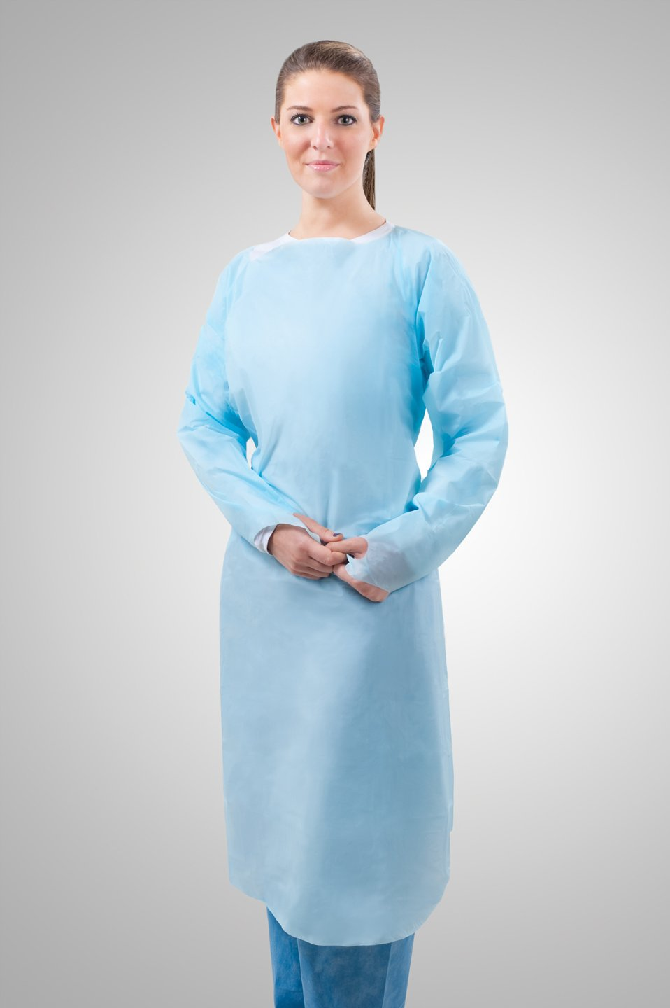 Tronex-Over-the-Head Gown, Medical Grade, Fluid-Impervious, Thumb Hooks, Soft Blue, Unisize (Box of 15)
