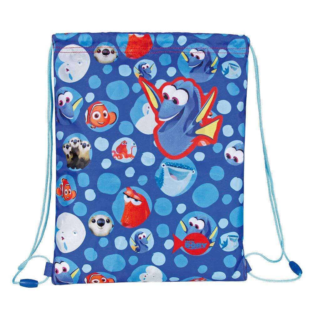 PERLETTI Disney Pixar Finding Dory Drawstring Sac for Children - Kids Swim Gym Bag Waterproof - Training Shoe Bag ideal for Travel and Sport - Blue - 39x31 cm