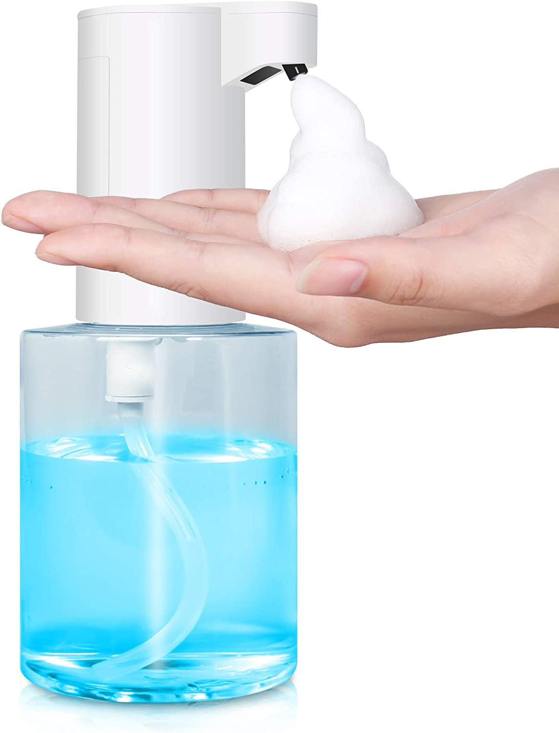Touchless Soap Dispenser, Automatic Foaming Soap Dispenser Battery Operated with Infrared Motion Sensor / Waterproof Base for Bathroom Kitchen Office Hotel Restaurant Countertop - 350ML