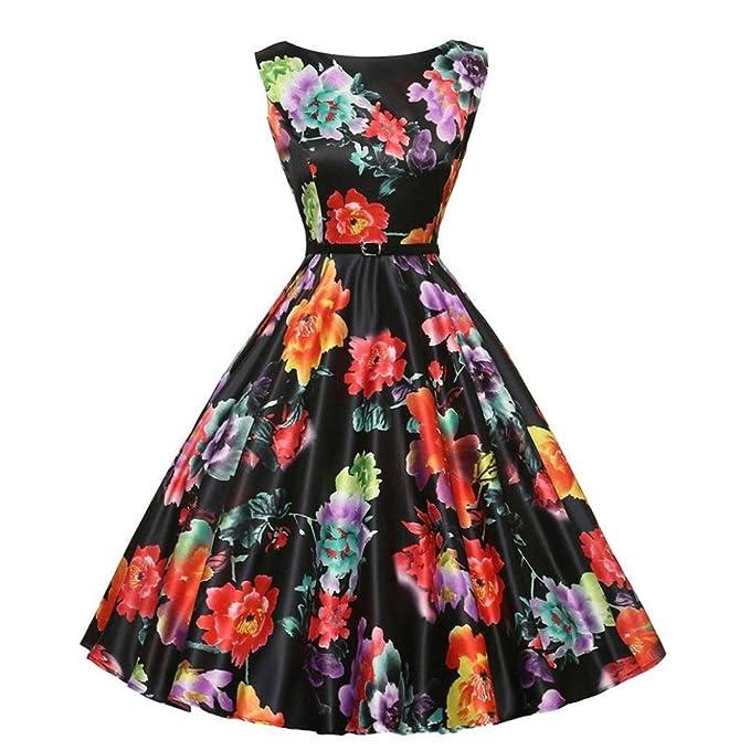 Vestido de mujer, ❤️Xinantime Vestido de bola sin mangas elegante floral de las mujeres vestidos de fiesta Vestido Hepburn de té vintage: Amazon.es: Ropa ...