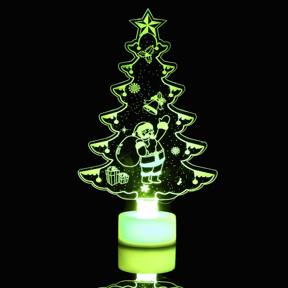 Mamum 3D LED Christmas Decorative Night Light Creative Acrylic Colorful Christmas Night Light 3D LED Decorative Wall Lamp Toy (A)