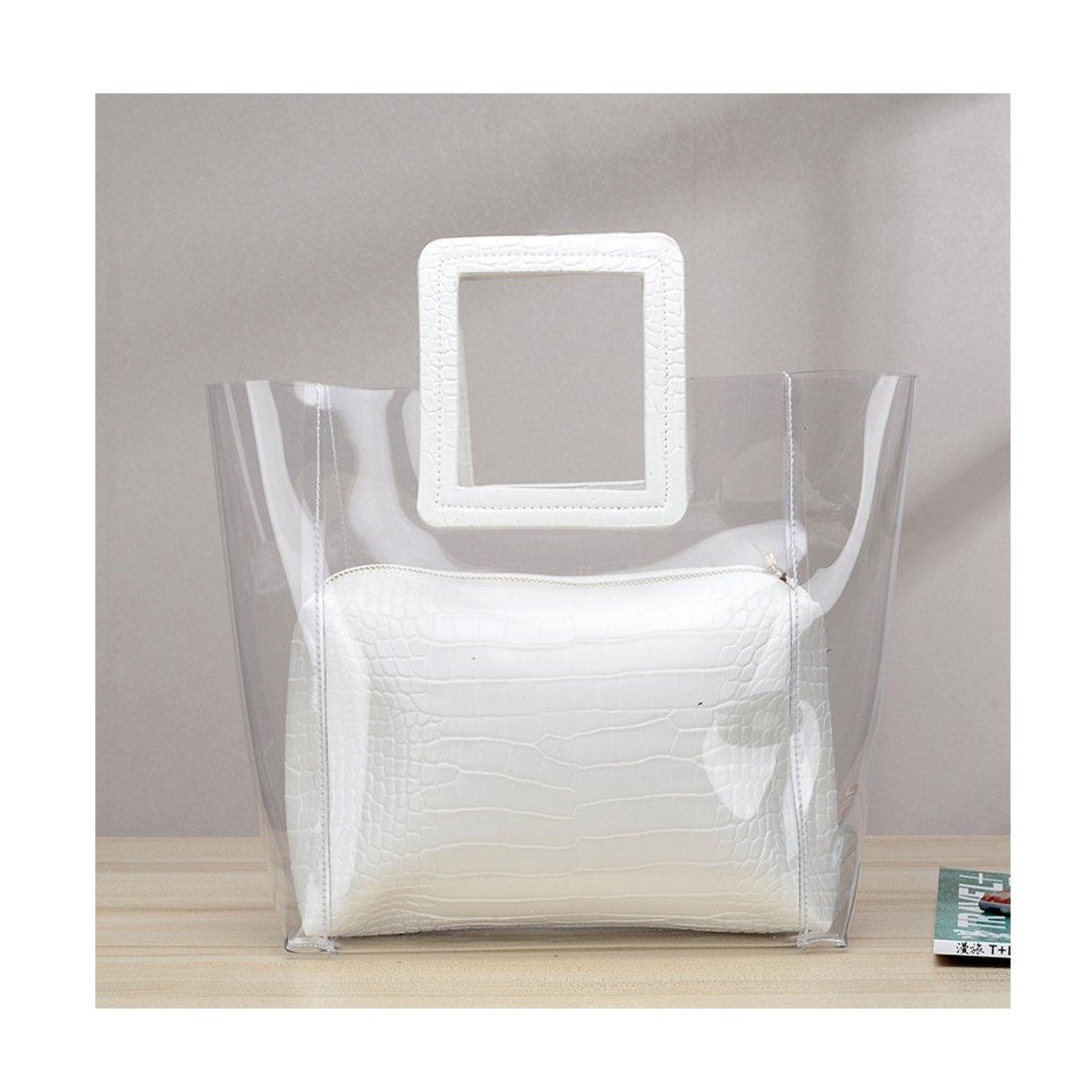 FANCY LOVE Classy Waterprof Clear Tote Beach Shoulder Crossbody Bag (White) by Barabum (Image #2)
