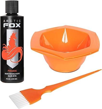 ARCTIC FOXArctic Fox Bundle con cepillo de tinte y cuenco, 100% vegano, tinte semipermanente para cabello, 4 oz o 8 oz, 8 fl oz, Porange, 3 uds. por ...