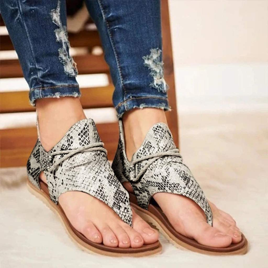 Leopard Flip Flop for Women Gladiator Sandals Casual Comfy Vintage Summer Flat with Back Zipper