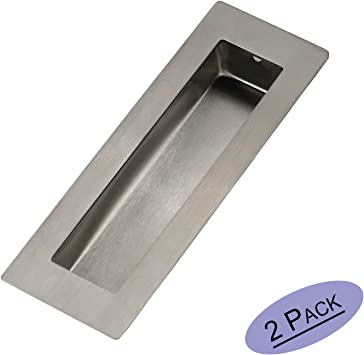 Goldenwarm - Tirador rectangular empotrable para puerta corredera, tornillos ocultos de 6 x 2 x 0.6 pulgadas, acero inoxidable de níquel cepillado: Amazon.es: Bricolaje y herramientas