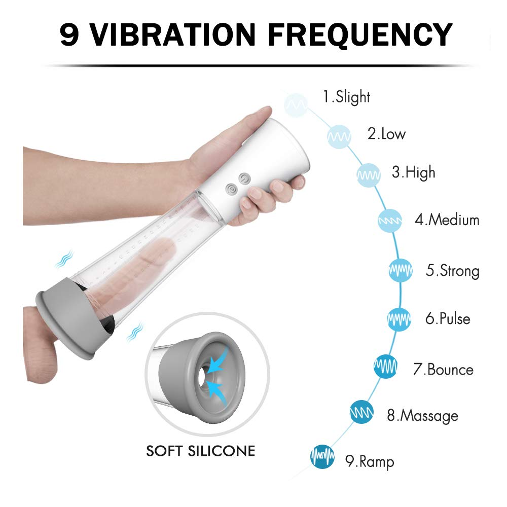 USB Charging 3 Kinds of Strong Suction and 9 Kinds of Powerful Vibrations Vacuum Pump Massager Pump Kit, Electronics Stick for Male by Edonsor (Image #4)