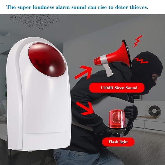 OWSOO Alarma Sirena Inalámbrico Alarma de Luz Flash Impermeable Compatible con 433MHz Control Remoto, Sensor de Puerta, Detector PIR para Sistema de Alarma ...