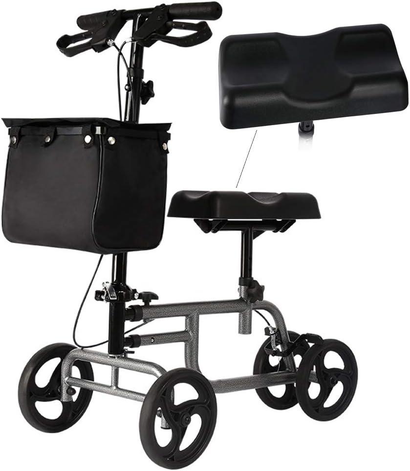 ZWCC Economy Knee Walker Steerable Medical Scooter Muleta Alternativa Negro