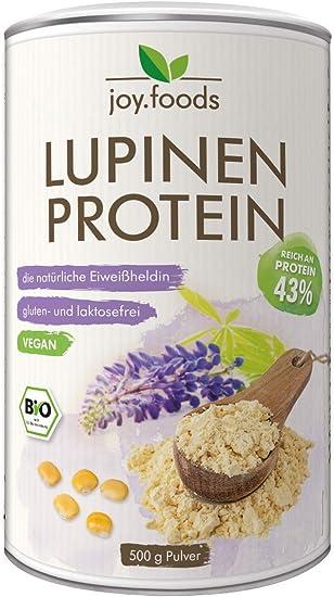 Joy.foods - Proteína de lupina orgánica - Fuente de proteínas vegetales - Vegano - 43% Proteína - 500 g