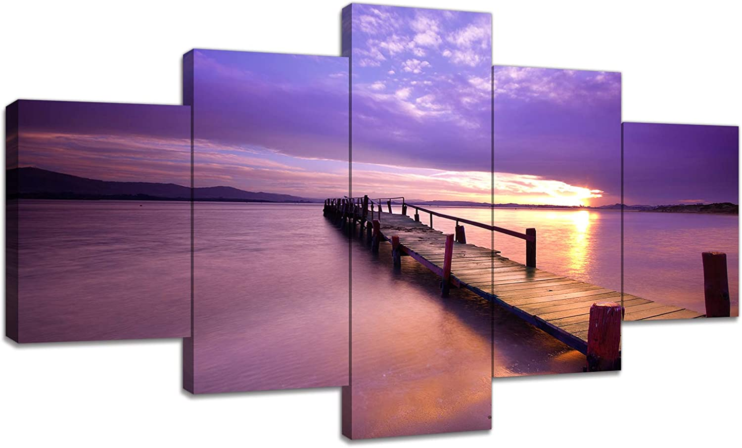 Amazon Com Urttiiyy Sea Bridge Canvas Wall Art Pier Pictures Boardwalk Under Sunset With Purple Sky Painting Print On Canvas 5 Panels Posters For Living Room Bedroom Framed Ready To Hang Posters