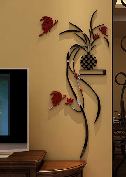 3d Potted Plant Wall Murals for Living Room Bedroom Sofa Backdrop Tv Wall  Background, Originality Stickers Gift, DIY Wall Decal Wall Decor Wall