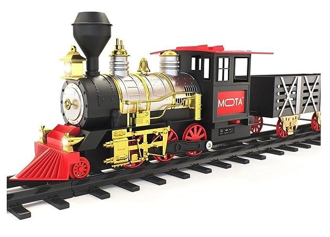 Amazon.com: MOTA Classic Holiday Christmas Train Set with Real Smoke ...