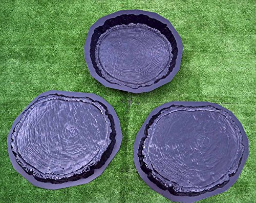Set 3 pcs Stepping Stone Log slab Mold Concrete Cement Mould for garden pathS42 (Mold Stepping Plastic Stone Abs)