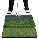 ZENY 25'' x 16'' XL Tri-Turf Golf Residential Practice Hitting Mat Driving Range Rubber Tee Holder Three Turf Types,Indoor Outdoor Golf Prctice Training Mat
