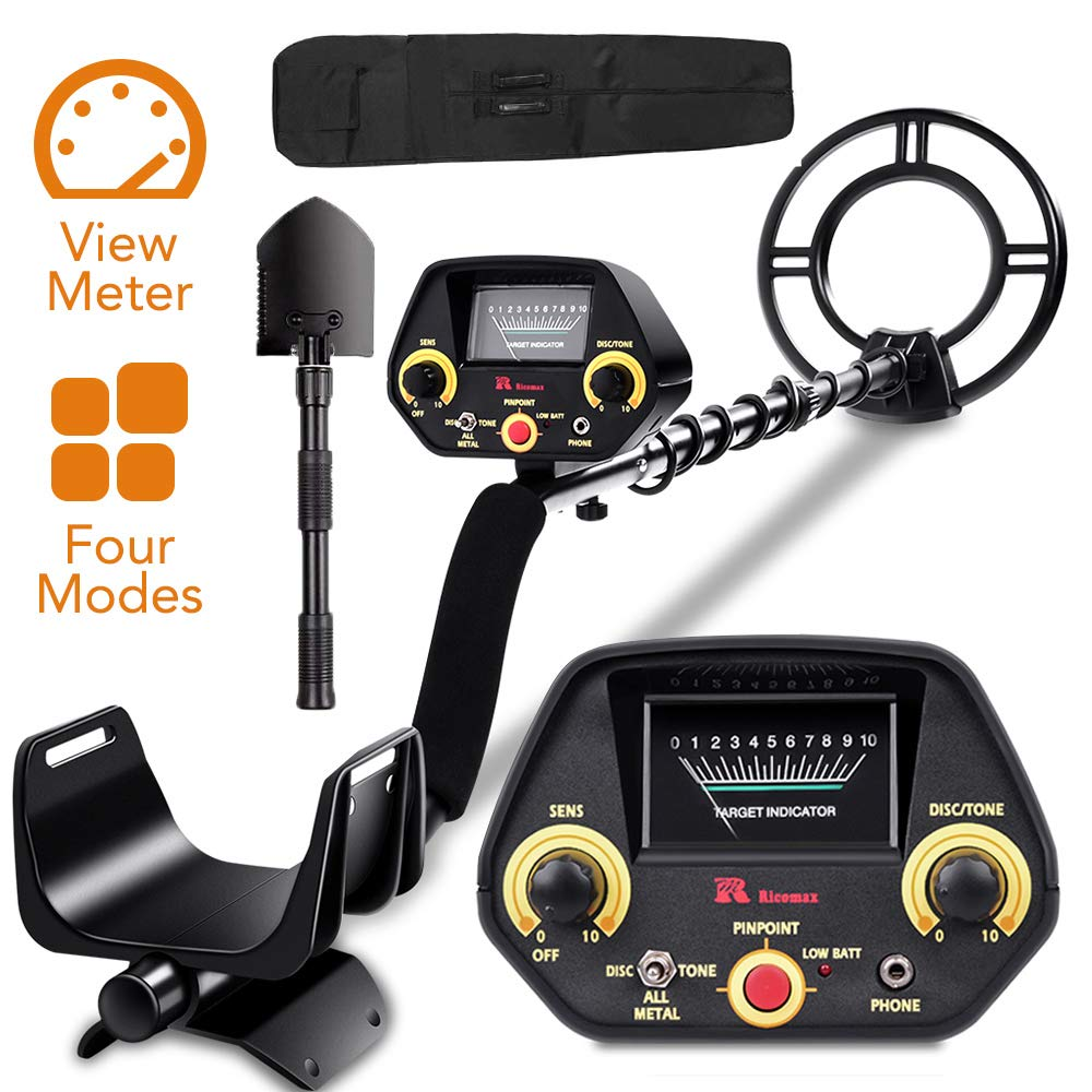 RM RICOMAX Metal Detector for Adults Kids – Gold Detector Disc Tone P P Modes Metal Detector with View Meter Headphones Jack Metal Detector Waterproof with High-Accuracy Easy to Use GC-1023