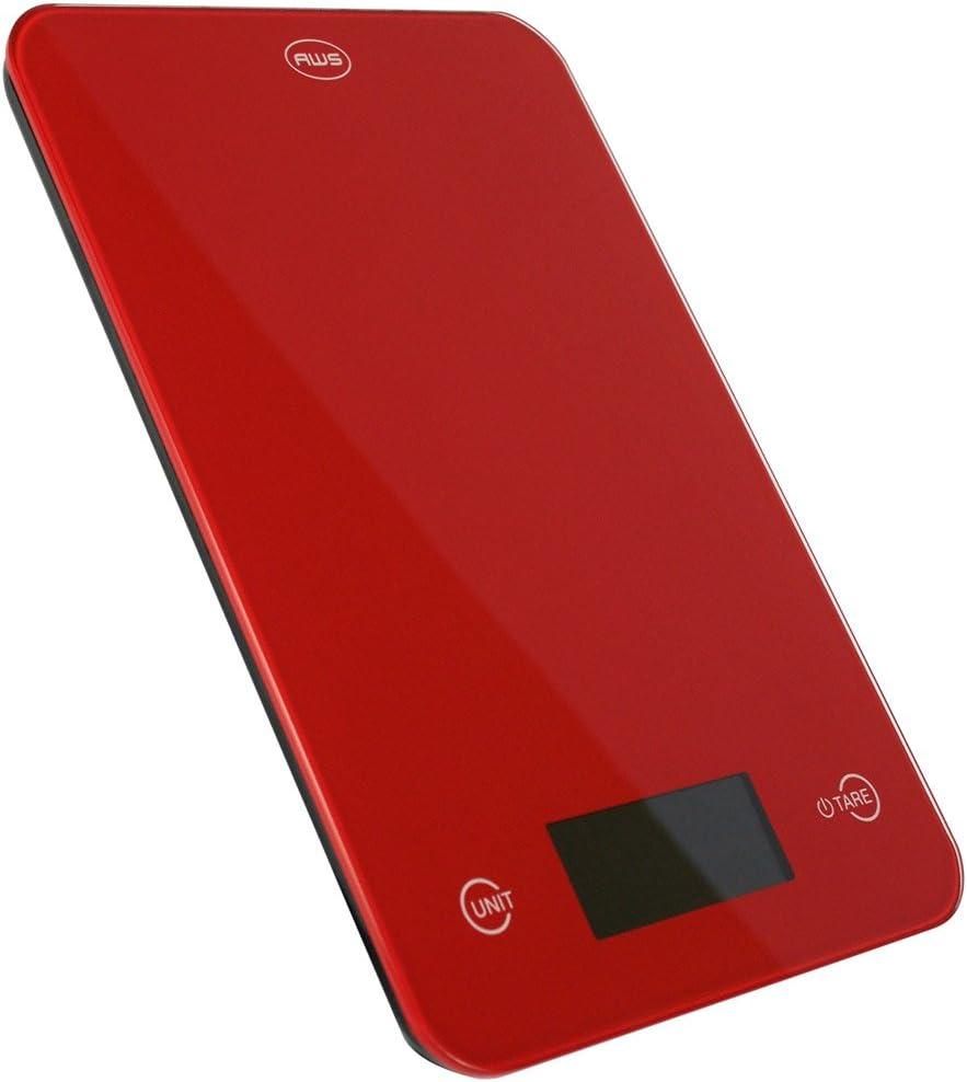 American Weigh Scales ONYX-5K Báscula electrónica de cocina Plata - Báscula de cocina (Báscula electrónica de cocina, 5 kg, 1 g, Plata, Vidrio, De plástico, fl oz, g, ml, oz) Rojo