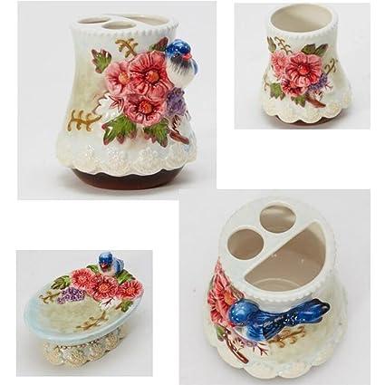 PLYY Cerámica 3D Flores talladas 5 Piezas Conjunto de Accesorios de Baño Jabonera de Regalo para el Baño, dispensador de Loción, Titular de Cepillo de ...