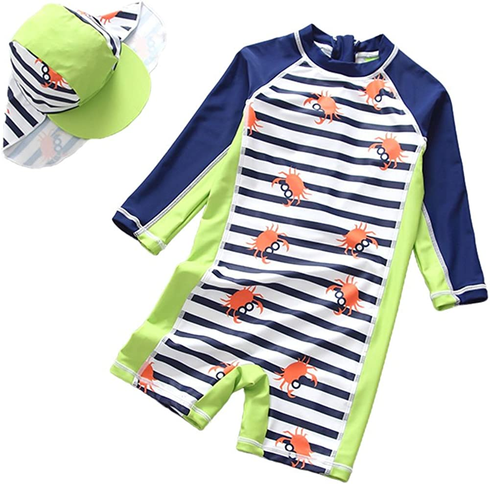 Baby Boys One Piece Swimsuit Toddler UV Sun Protective Short Sleeve Bathing Suit Surfing Suit UPF 50+