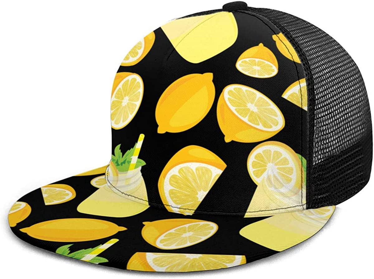 elasonn Sliced ??Drink Lemon Lemonade Men Womens Rugged Fashion Baseball Cap Mesh Back Adjustable Snapback Surf Hat Leisure Hip Hop Cap for Fishing Beach Hiking Travel Outdoor