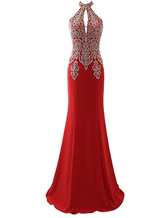 Vkissdress Womens Lace Embroidery Applique Long Formal Mermaid Evening Prom Dresses Red 14