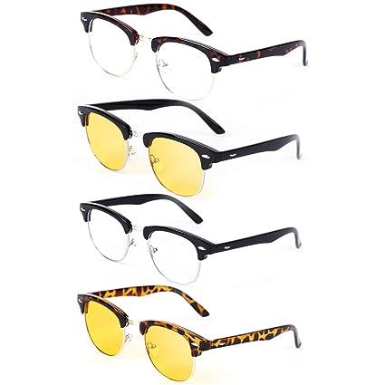 3b1d067987 Blue Light Blocking Gaming Glasses Black Tortoise Half Frame Retro Anti  Glare Clear Yellow Lens Eyewear