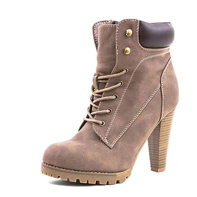 c2480924790452 Marimo Angesagte Damen Schnür Stiefel Stiefeletten mit Trichterabsatz in  Hochwertiger Lederoptik Khaki 38