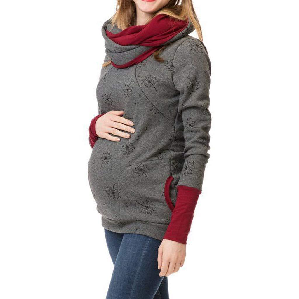 LHWY Premam/á Invierno Leggins Abrigos Sudadera con Capucha De Mujer Embarazada Sudadera con Capucha De Maternidad Lactancia Materna Jumper Top