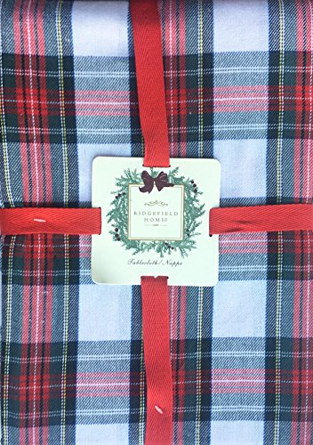 Tartan Gift Bags (Ridgefield Home Fabric Cotton Christmas Holiday Scottish Plaid Tartan Pattern Tablecloth Shades of Red Green White Black 60 Inches Round)