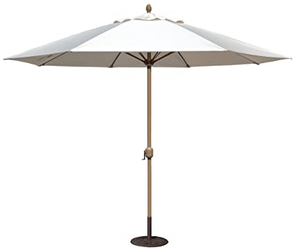 Nice Tropishade 11u0027 Sunbrella Patio Umbrella With Antique White Cover