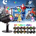 Christmas Lights Projector, LED Waterproof Star Rotating Snowflake Motion Shower Landscape Projection Slide Show Lighting Display for Holiday House Garden Birthday Halloween Party Xmas Decorations