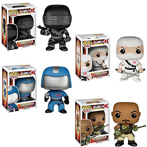 G.I. Joe Snake Eyes, Storm Shadow, Cobra Commander, Roadblock Pop! Vinyl Figures Set of 4! ()