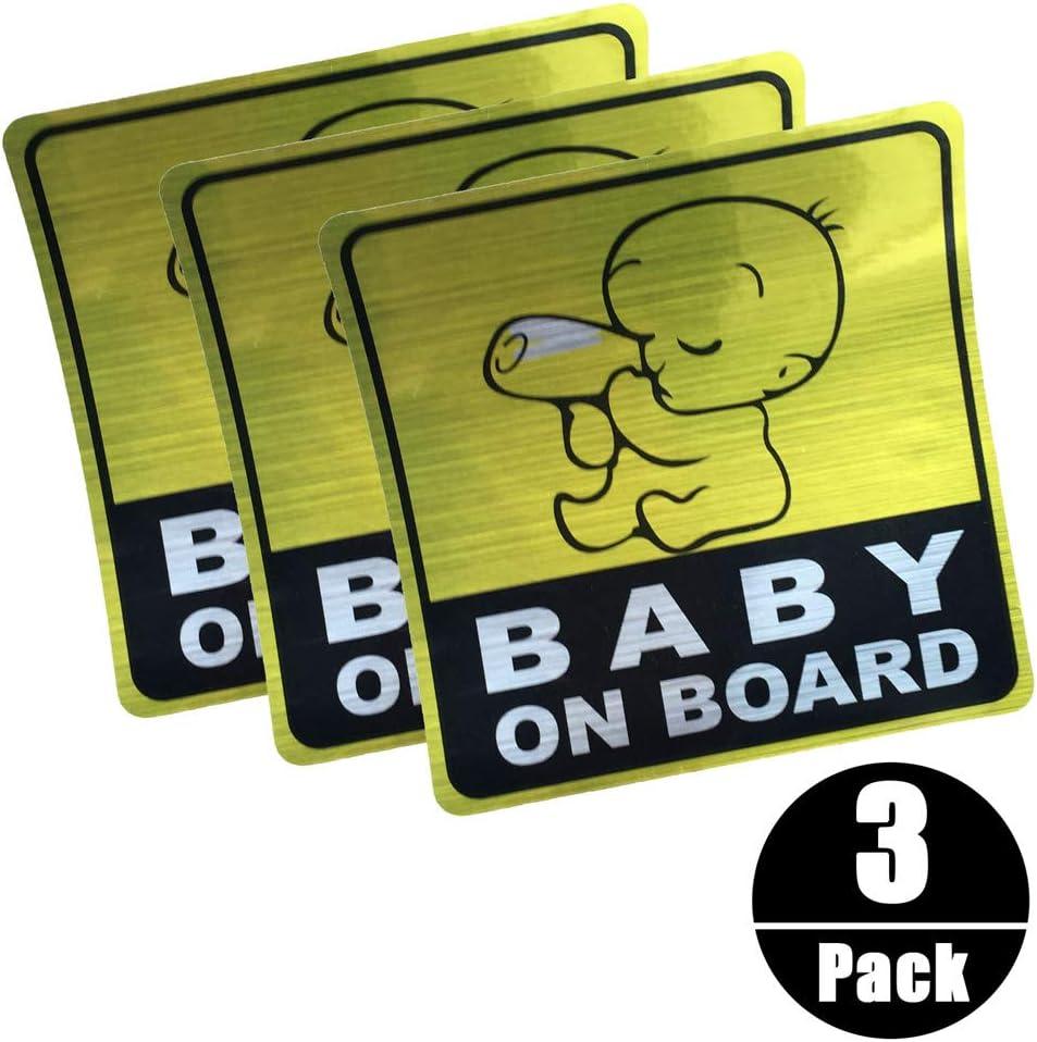 Silence Shopping Adesivi di sicurezza per auto Adesivi per bambini BABY ON BOARD Adesivo per auto riflettente 3 pezzi