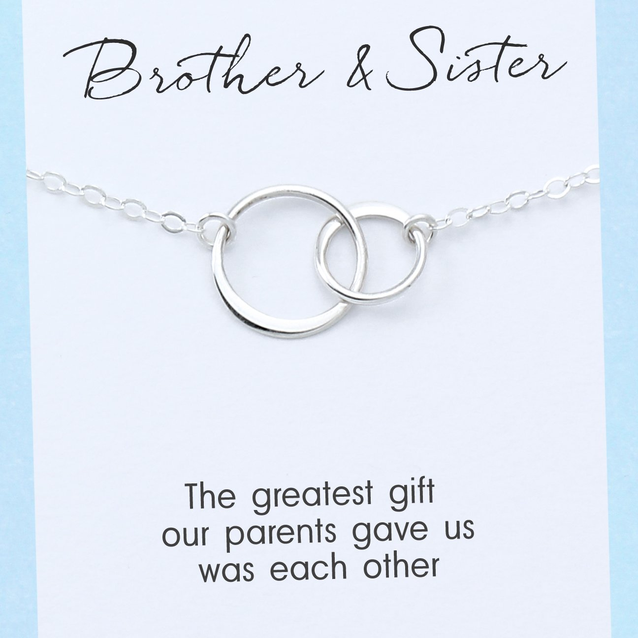 Soul Sister Necklace /• Sister Gift /• Sister Birthday Gift /• Gift for Favorite Sister /• Soul Sister Gift Card /• Two Circle Necklace Silver