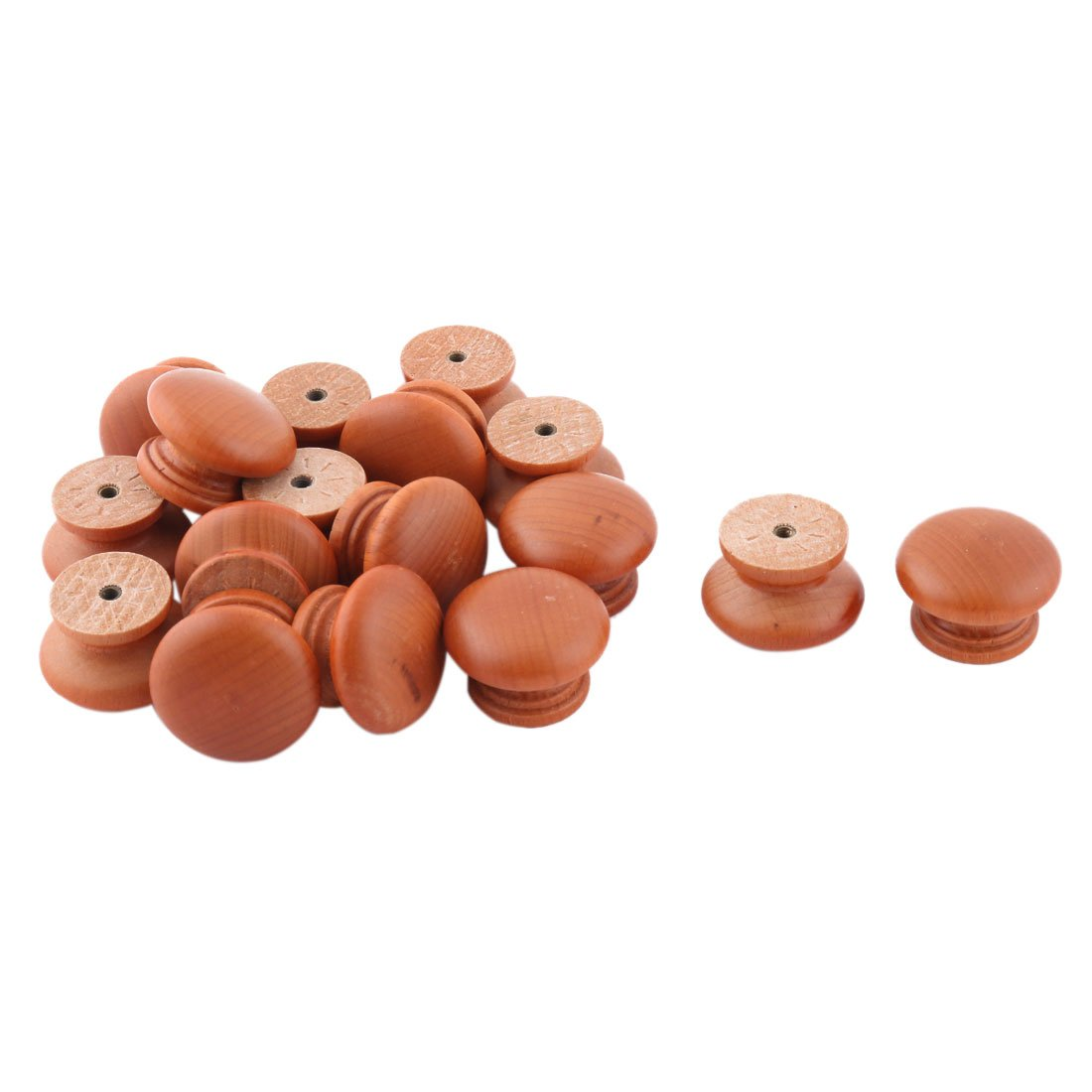 uxcell Wood Bedroom Round Door Dresser Cabinet Closet Handle Pull Knob 17pcs Light Brown by uxcell