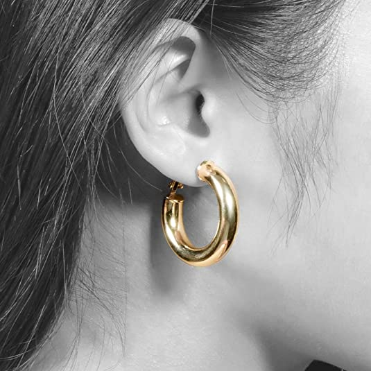 Amazoncom Thick Gold Hoop Earrings Statement Gold Hoops Stud