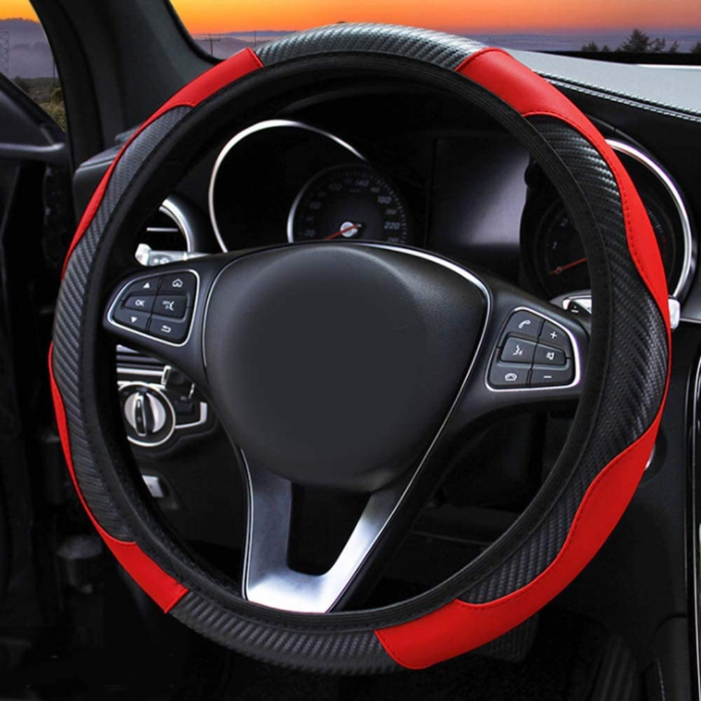 Carbon Leather Elastic Basic Car Steering Wheel Cover Grip Universal 38cm 15inch Red