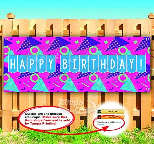Happy Birthday 13 oz Heavy Duty Vinyl Banner Sign with Metal Grommets Store Flag, New Advertising Many Sizes Available