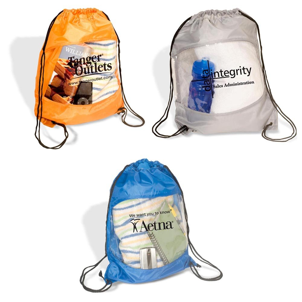 Clear View Drawstring Bag - 100 Quantity - $2.85 Each - PROMOTIONAL PRODUCT / BULK / BRANDED with YOUR LOGO / CUSTOMIZED by Sunrise Identity (Image #4)