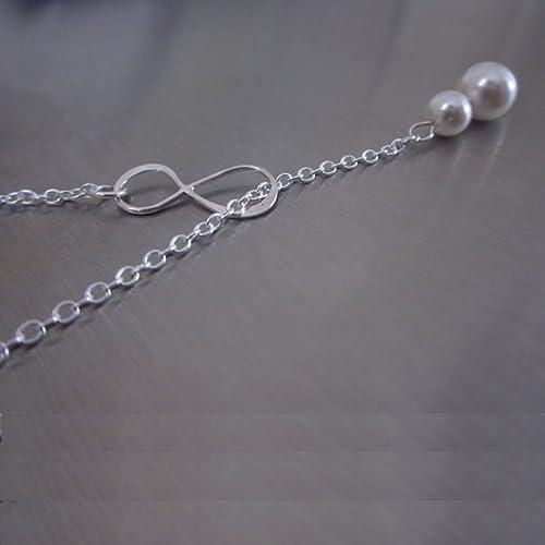 Infinity Lariat Halskette mit Swarovski Perlen in Sterling Silber ... 4154556ddd