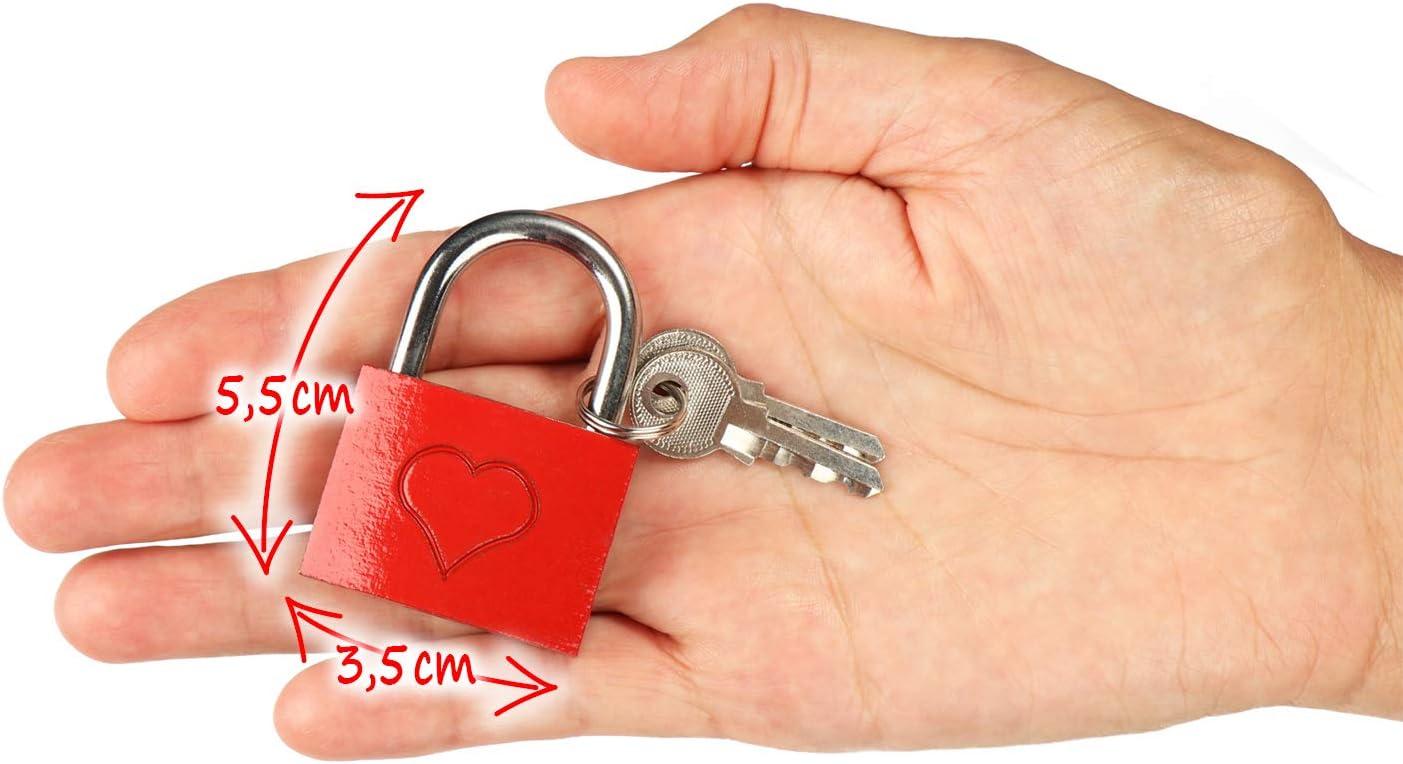 002 St/ück - mit Gravur Vorh/ängeschloss mit je 2 Schl/üsseln f/ür romantische Momente com-four/® 2X Liebesschloss mit eingraviertem Herz